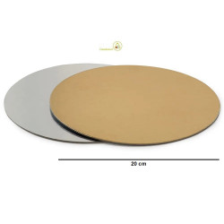 Vassoio sottotorta accoppiato oro e argento tondo da 20 cm
