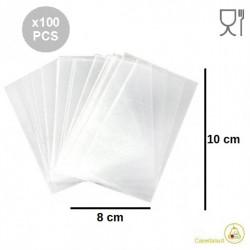 100 Bustine neutre larghe 8 cm lunghe 10 cm in polietilene neutro, per alimenti come confetti, caramelle e Marshmallow