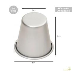 50 Formine Babà normale in alluminio anodizzato diametro 6 cm