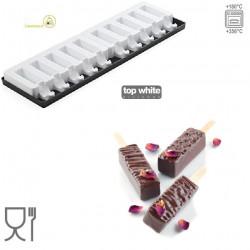 Set 2 Stampi per 30 mini Gelati Bar o mini rettangoli in silicone Top White da Silikomart.