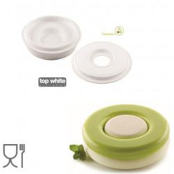 Kit Game 1200 ml o Torta tonda ad incastro verticale di diametro 18 cm di Silikomart è in silicone bianco