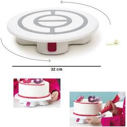 Piatto girevole decora torte o piatto giro-torta con base e blocco da 32 cm