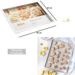 Teglia anodizzata professionale rettangolare bassa per dolci e pizza larga 30 cm lunga 40 cm alta 2,5 cm