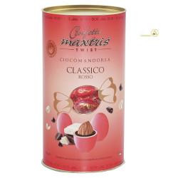 Cilindro confetti Twist Maxtris da 100 g colore rosso
