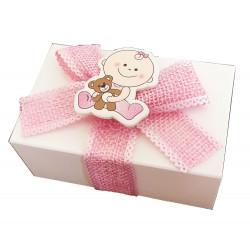 Scatola portaconfetti in cartoncino rosa bimba