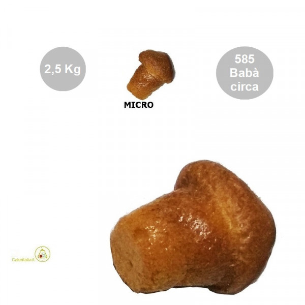 Babà micro secchi (no Rum) da bagnare in confezione da 2500 g, per circa 585 babà micro