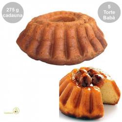 5 Torte Babà grandi secche (no Rum) da bagnare da 275 g cadauno