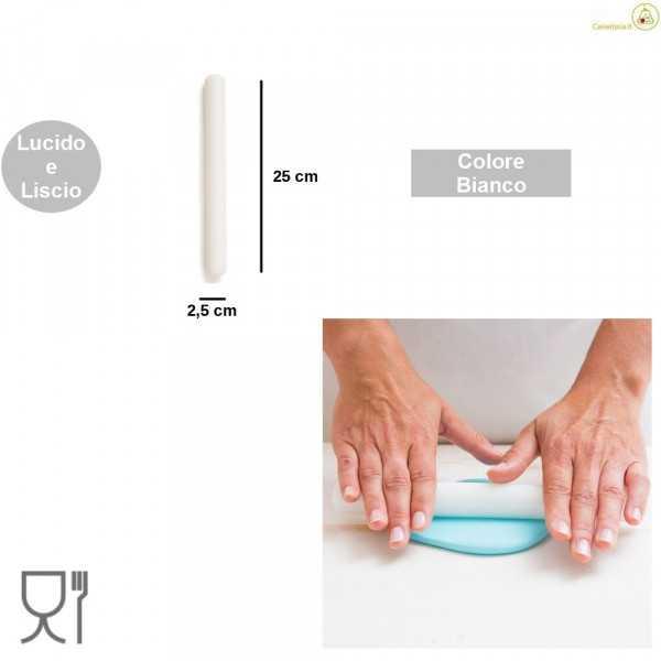 Mini matterello liscio in nylon bianco lungo 25 cm da Decora