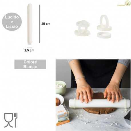 Kit mini mattarello liscio in Nylon 25 cm con spessori o guide piccole da Decora