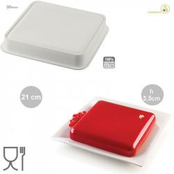 Stampo Torta Quadrata 21 cm h 3,5 cm in silicone grigio