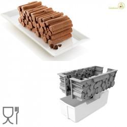 Kit Stampo Catasta di legna 24x10 cm h 8 cm in silicone grigio con supporto in plastica da Silikomart