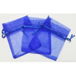 10 Sacchetti in organza per confetti Blu