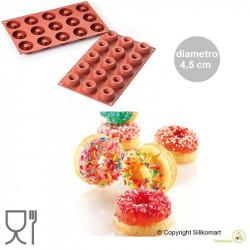 Stampo per 15 ciambelle mini o 15 donuts mini dal diametro di 4,5 cm in silicone da Silikomart