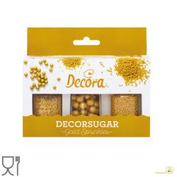 Set 85 g perle e bastoncini dorati in zucchero per decorazione dolci da Decora