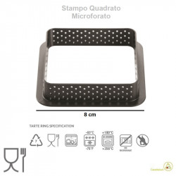 Stampo ad anello micro-forato per crostatine o tortine quadrate tarte ring da 8 cm di Silikomart