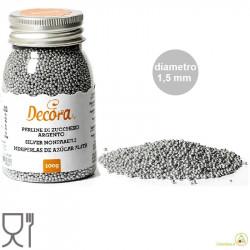 Perline argentate di zucchero da 100 g, 1,5 mm, per decorazione dolci da Decora