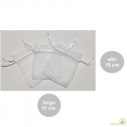 Sacchetti bianchi grandi in organza con tirante, portaconfetti già pronti larghi 11 cm ed alti 15 cm