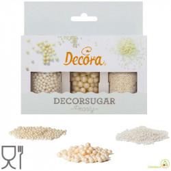 Set 3 decorazioni perle e perline in zucchero bianco perla da 80 g