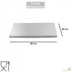 Vassoio sottotorta rettangolare rigido color argento largo 20 cm lungo 30 cm alto 1,2 cm