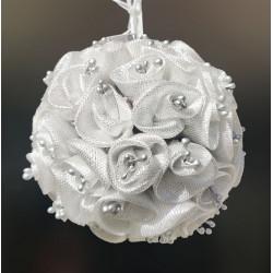 Sfera di boccioli artificiali color argento 11 cm
