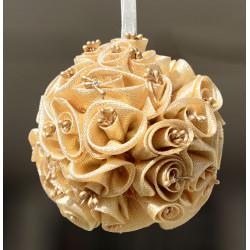 Sfera di boccioli artificiali color oro 11 cm
