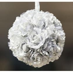 Sfera di rose artificiali color argento 16 cm