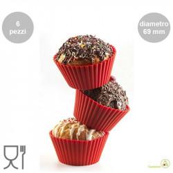 Set 6 stampi muffin tondi, in silicone rosso di diametro 69 mm