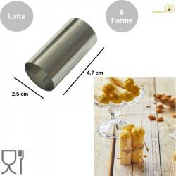 Stampo forma cartuccia a tubo in Latta di altezza 4,7 cm, diametro 2,5 cm in confezione da 6 formine