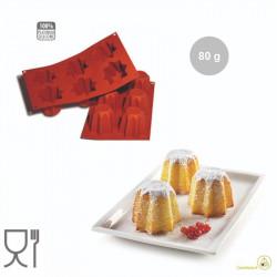 Stampo Pandorino o mini pandoro in silicone professionale colore terracotta, SF100 da Silikomart