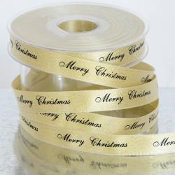 "Nastro Doppio Raso ""Merry Christmas"" Oro Glitter 15mm x 25mt"