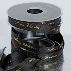 "Nastro Doppio Raso ""Merry Christmas"" Nero Glitter 25mm x 25mt"