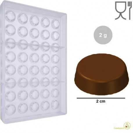Stampo Compressa Tonda di Cioccolato da 20 mm e 2 g in policarbonato