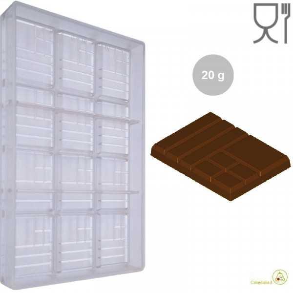 Stampo Cioccolato Tavoletta Mix da 20 g lunga 6 cm larga 5 cm in policarbonato