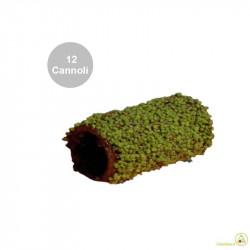 12 Cannoli Baby Pistacchio di pasta frolla ricoperti di fondente e granella di Pistacchio
