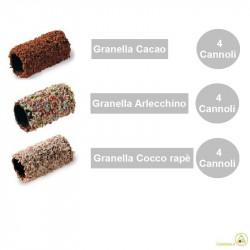 12 Cannoli Baby ricoperti di Granella di Cacao Cocco e Codette Fondenti