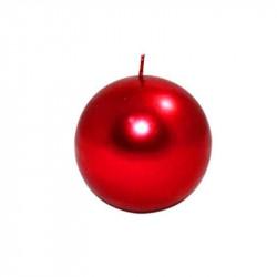 Candela a sfera cm 6 colore rosso metallizzato