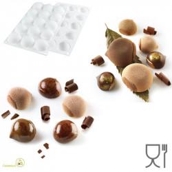 Stampo Marron Glacé 30 ml silicone bianco 3D, da Silikomart a forma di piccola castagna