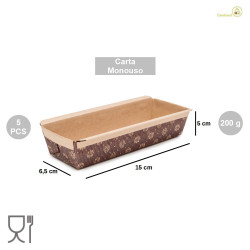 5 Stampi Plum Cake in carta da forno da 155 cm per torte da 200 g