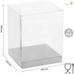 5 Scatole Pet trasparenti con base in cartoncino bianco 19 cm x 16 cm x 30 cm