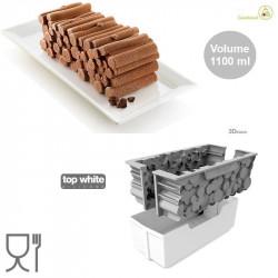 Kit Woody 1100 o Catasta di legna 24x10 cm h 8 cm in silicone bianco con supporto in plastica da Silikomart