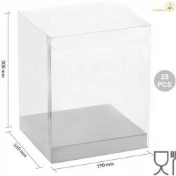 25 Scatole Pet trasparenti con base in cartoncino bianco 19 cm x 16 cm x 30 cm