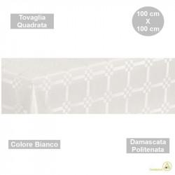 Tovaglia monouso di forma quadrata di lato 100 cm in carta damascata politenata a fondo pieno colore bianco.