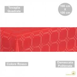 Tovaglia monouso di forma quadrata di lato 100 cm in carta damascata politenata a fondo pieno colore rosso.