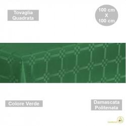 Tovaglia monouso di forma quadrata di lato 100 cm in carta damascata politenata a fondo pieno colore verde.