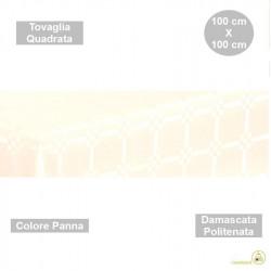 Tovaglia monouso di forma quadrata di lato 100 cm in carta damascata politenata a fondo pieno colore panna
