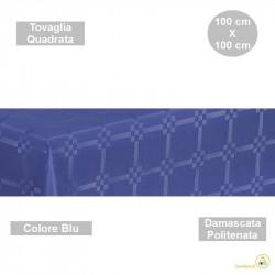 Tovaglia monouso di forma quadrata di lato 100 cm in carta damascata politenata a fondo pieno colore blu