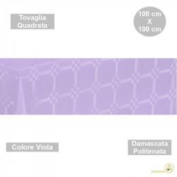 Tovaglia monouso di forma quadrata di lato 100 cm in carta damascata politenata a fondo pieno colore viola.