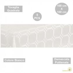 5 Tovaglie monouso di forma quadrata di lato 100 cm in carta damascata politenata a fondo pieno colore bianco