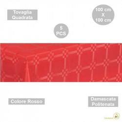5 Tovaglie monouso di forma quadrata di lato 100 cm in carta damascata politenata a fondo pieno colore rosso