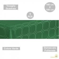 5 Tovaglie monouso di forma quadrata di lato 100 cm in carta damascata politenata a fondo pieno colore verde